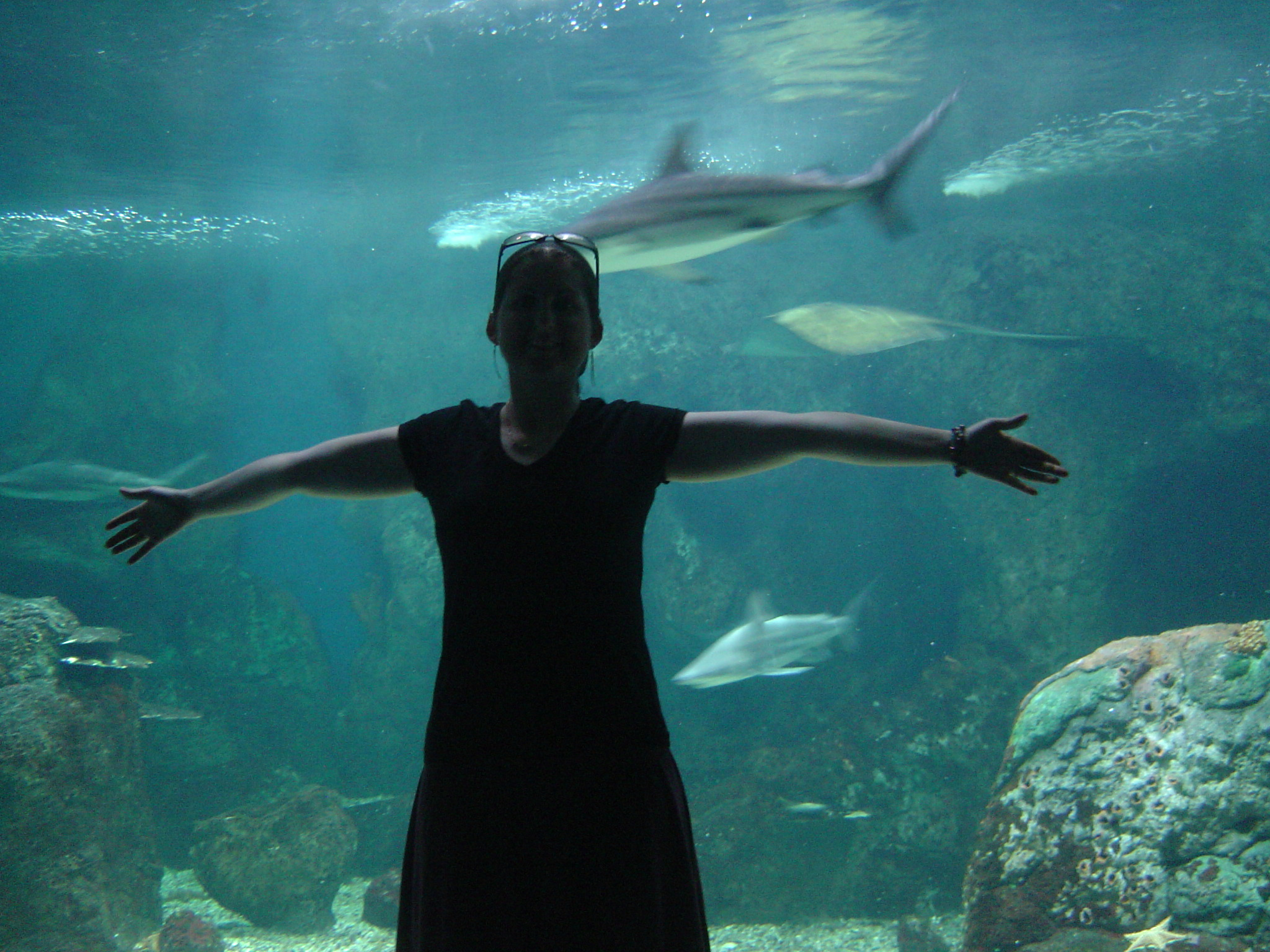 Rachel in front of the sharks tank